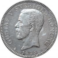 """Швеция 1 крона 1924 г. W, UNC, """"Король Густав V (1908 - 1950)"""""""