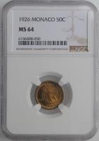 "Монако 50 сантимов 1926 г., NGC MS64, ""Принц Луи II (1922 - 1949)"""
