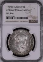 """Венгрия 5 крон 1907 г., NGC MS64+, """"40 лет со дня коронации Франца Иосифа I"""""""