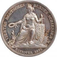 """Ганновер 1 талер 1872 г., UNC, """"4-й стрелковый фестиваль в Ганновере"""""""