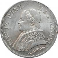 Ватикан 1 лира 1866 г., UNC, 'Папа Пий IX (1846-1878)'