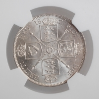 "Великобритания 2 шиллинга (флорин) 1887 г., NGC MS63, ""Королева Виктория (1838 - 1901)"""
