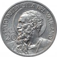 "Ватикан 20 чентезимо 1932 г., UNC, ""Папа Пий XI (1929 - 1938)"""