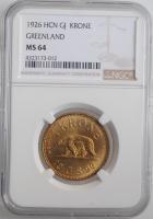 "Гренландия 1 крона 1926 г., NGC MS64, ""Крона (1926 - 1964)"""