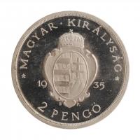 """Венгрия 2 пенго 1935 г., PROOF RESTRIKE, """"300 лет Католическому университету Петера Пазманя"""""""