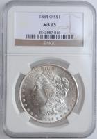 "США 1 доллар 1884 г. O, NGC MS63, ""Доллар Моргана"""