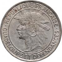 """Гваделупа 1 франк 1921, XF, """"Французская колония (1903 - 1921)"""" (10)"""