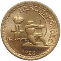 """Монако 50 сантимов 1924 г., BU, """"Принц Луи II (1922 - 1949)"""""""