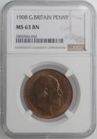 """Великобритания 1 пенни 1908 г., NGC MS63 BN, """"Король Эдуард VII (1902 - 1910)"""""""