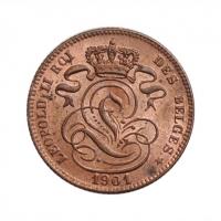 """Бельгия 1 сантим 1901 г. DES, UNC, """"Король Леопольд II (1865 - 1909)"""""""