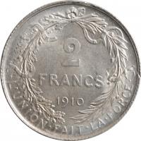 """Бельгия 2 франка 1910 г. DES, AU, """"Король Альберт I (1910 - 1934)"""""""