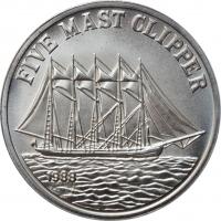 """Лаос 10 кипов 1988 г., BU, """"Five Mast Clipper"""" Магнитная"""
