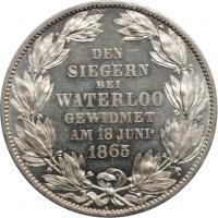 "Ганновер 1 талер 1865 г. B, BU PL, ""50 лет Битве при Ватерлоо"""