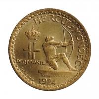 """Монако 1 франк 1924 г., BU, """"Князь Луи II (1922 - 1949)"""""""