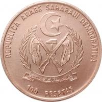 """Западная Сахара 100 песет 1990, BU, """"Транспорт - Араб и верблюд"""""""