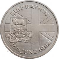 """Фолклендские острова 50 пенсов 1982 г., BU, """"Освобождение - 14 июня 1982"""""""