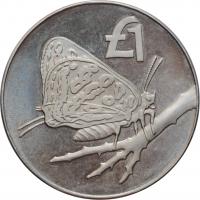 """Кипр 1 фунт 2002, PROOF, """"Бабочка"""""""