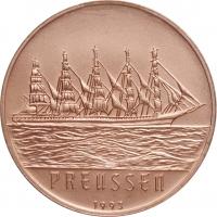 "Бенин 200 франков 1993 г., BU, ""Парусник ""Пруссия"""