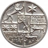 """Веймар 3 рейхсмарки 1927 г., UNC, """"400 лет Марбургскому университету имени Филиппа"""""""