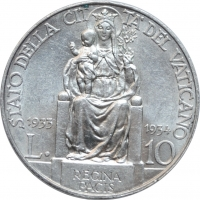 """Ватикан 10 лир 1933-34 г. AU-UNC, """"Папа Пий XI (1929 - 1938)"""""""