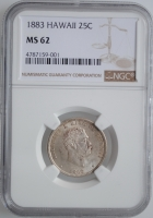 "Гавайи 1/4 доллара 1883 г., NGC MS63, ""Король Калакауа (1874 - 1891)"""
