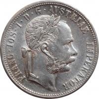 """Австрия 1 флорин 1879 г., UNC, """"Император Франц Иосиф (1848 - 1916)"""""""