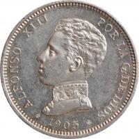 """Испания 2 песеты 1905 г., UNC PL, """"Король Альфонсо XIII (1886 - 1931)"""""""