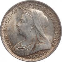 """Великобритания 3 пенса 1897 г., BU, """"Королева Виктория (1838 - 1901)"""""""