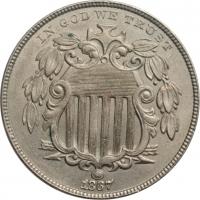 """США 5 центов 1867 г., UNC, """"Соединенные Штаты Америки (1859 - 1909)"""""""