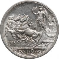 "Италия 2 лиры 1915 г. R, BU, ""Король Виктор Эммануил III (1900 - 1946)"""