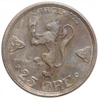 """Норвегия 25 эре 1923 г., UNC, """"Король Хокон VII (1906 - 1957)"""""""