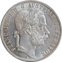 """Австрия 1 флорин 1871 г., UNC, """"Император Франц Иосиф I (1848 - 1916)"""""""