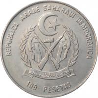 "Западная Сахара 100 песет 1990, BU, ""Эмбарго Антигуа"""