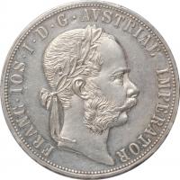 """Австрия 2 флорина 1877 г., UNC, """"Император Франц Иосиф I (1848 - 1916)"""""""