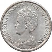 """Нидерланды 1 гульден 1915 г., BU, """"Королева Вильгельмина (1890 - 1948)"""""""
