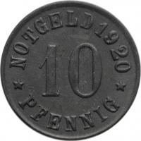 """Пруссия - Ольпе 10 пфеннигов 1920 г., UNC, """"Нотгельды Германии (1914 - 1924)"""""""
