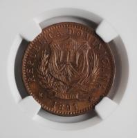 """Доминикана 10 сентесимо 1891 г., NGC MS62 BN, """"Республика (1844 - 1897)"""""""