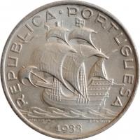 """Португалия 5 эскудо 1933 г., BU, """"Португальская Республика (1911 - 1969)"""""""