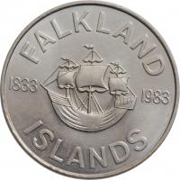 """Фолклендские острова 50 пенсов 1983 г., BU, """"150 лет Британскому управлению"""""""