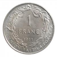 """Бельгия 1 франк 1911 г. DES, UNC, """"Король Альберт I (1910 - 1934)"""""""