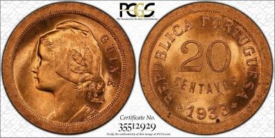 """Гвинея-Бисау 20 сентаво 1933 г., PCGS MS65 RD, """"Португальская колония (1933 - 1974)"""""""
