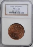 "Тунис 10 сантимов 1904 г., NGC MS65 RD, ""Французский протекторат (1890 - 1957)"""
