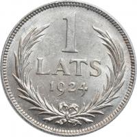 """Латвия 1 лат 1924 г., BU, """"Первая Республика (1922 - 1940)"""""""