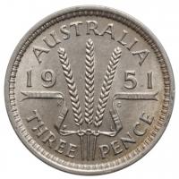 """Австралия 3 пенса 1951 г. PL, UNC, """"Король Георг VI (1937 - 1952)"""""""