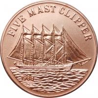 "Лаос 10 кипов 1988 г., BU, ""Five Mast Clipper"" Медь"
