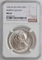 """Филиппины 1 песо 1936 г., NGC MS64, """"Создание Содружества, Мерфи-Кесон"""""""