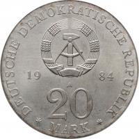 """ГДР 20 марок 1984 г., UNC, """"300 лет со дня рождения и 225 лет со дня смерти Генделя"""""""