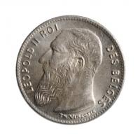"""Бельгия 50 сантимов 1909 г. DES, UNC, """"Король Леопольд II (1865 - 1909)"""""""