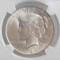 "США 1 доллар 1924 г., NGC MS64+, ""Мирный доллар"""