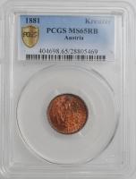 """Австрия 1 крейцер 1881 г., PCGS MS65 RB, """"Император Франц Иосиф (1848 - 1916)"""""""